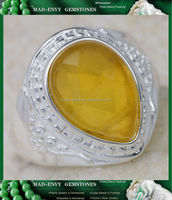 5Ct Lemon Jade 925 Solid Sterling Silver Victorian Style Gemstone Ring Size 9 MR451