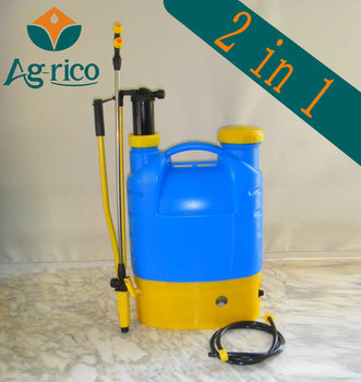 agrico portable plastic batttery and manual weedicide sprayer 2 in 1