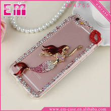 Luxury Single Row Rhinestone Mermaid Cat Phone Case PC Cell Phone Case For iPhone6 6plus