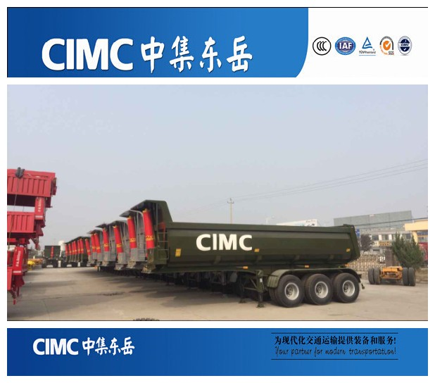 CIMC 3 axles agricultural small dump trailer/tipper semi trailer for sale