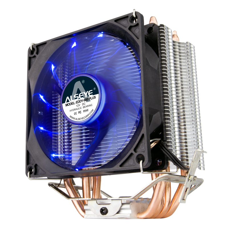 Alseye Eddy-90B LED CPU Cooler with PWM Fan, Four Direct Contact Heat Pipes, Unique Blade Design and Blue LEDs