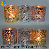 Stained glass candle holder with embossed design Cheap
