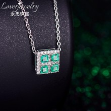 1.11 Grams 18k White Gold 0.64ct Natural Emerald Cheap Gemstone Pendants