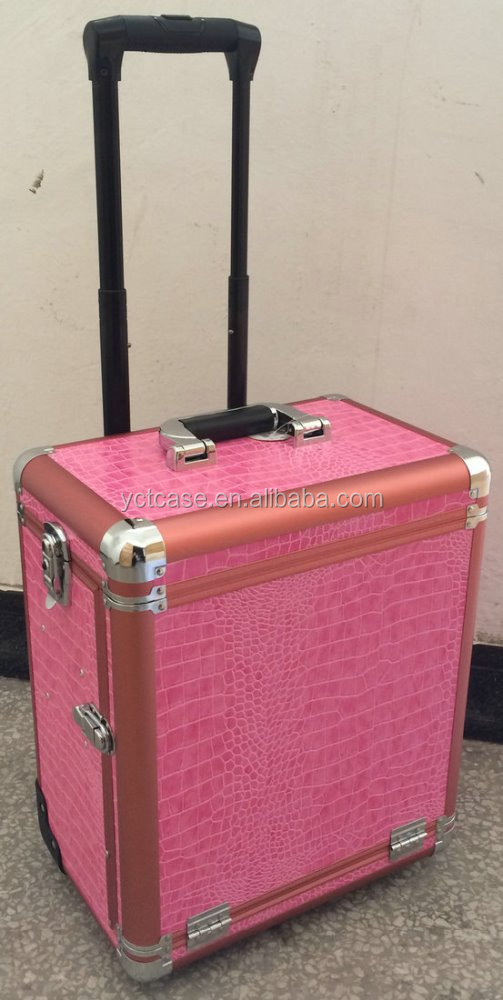 Pink alumium beauty case with wheels tatoo makeup case rolling case