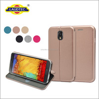 For Samsung Galaxy Note 3 Flip Wallet Case with Credit Card Holder/Stand/Shockproof TPU Silicon Bumper, Rose Gold