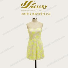 Prom yellow flower girl strapless short-length hot sale new model dress 2014