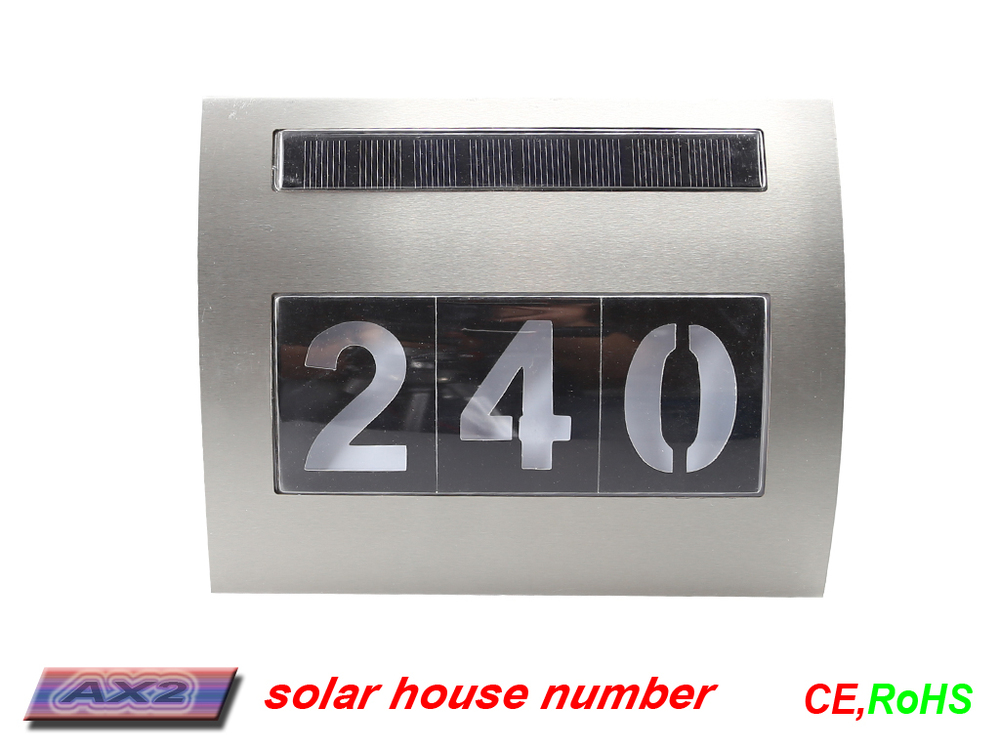 FQ-533 Lighted Solar LED PLAQUES , Address Signs,three house number plaques,doorplate led light