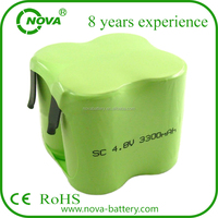Rechargeable 4.8v sc 3300mah ni-mh battery pack shenzhen Manufacturer