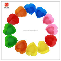 KG-0004 popular colorful heart shape silicone plastic cake mold