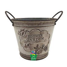 Chinese supplier home decor crack lacquer indoor large decorative pots planters with iron Handles