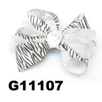 wholesale zebra ribbon organza boutique hair bows