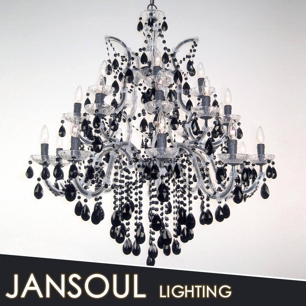 Fancy lights with black crystal ball chandelier dining room hall decor