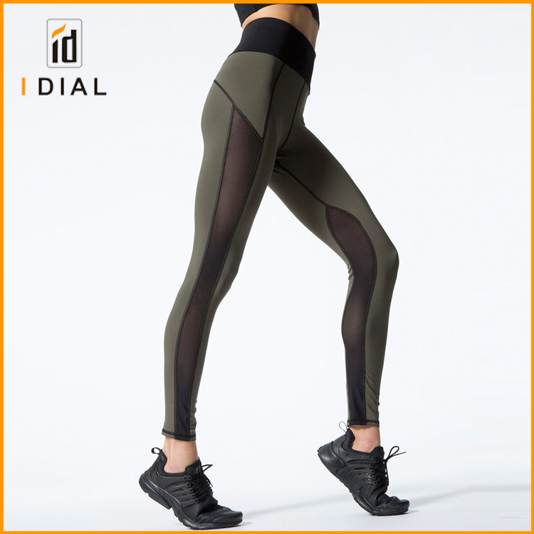 2017 High quality OEM sports apparel wholesale custom Nylon elastic fitness leggings for women
