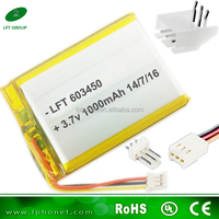 rechargeable li-polymer battery 603450 li-ion battery pack 3.7v 1000mah for massage machine