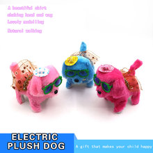 Hot selling cute singing walking plush dog stuffed dog toy Electric Musical puppy pet in glasses and hat