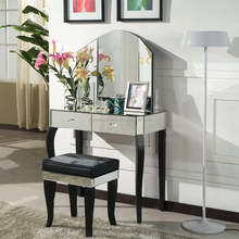Mirror Furniture Makeup Dressing Table With Mirrors And Stool