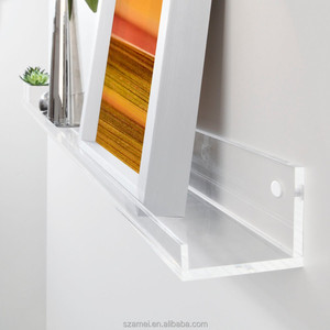 wall mounted clear acrylic slatwall book shelf