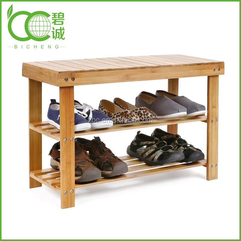China Supplier 2-Tier Bamboo Boot Storage Racks Shelf Organizer Chair Seat Wholesale