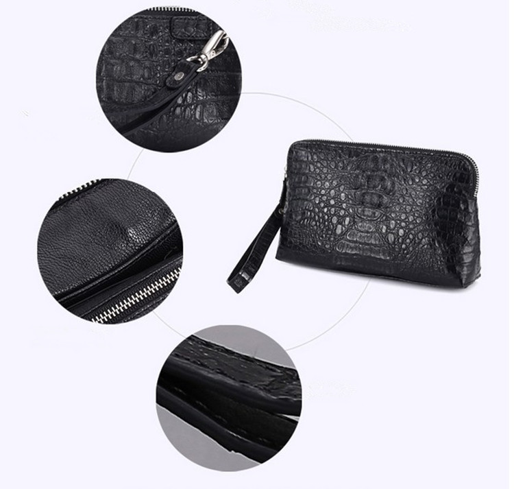 Clutch Bag Men Handmade Leather Clutch Leather Handbags for Men Crocodile Leather Bag