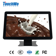 "Auto power on/off Indoor 18.5"" touch screen monitor LED display AIO with front camera desktop computer with stand"
