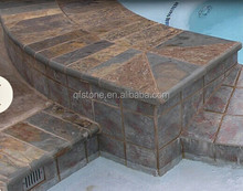 CE Passed Erosion Resistance Antacid Natural Rusty Slate Tile Swimming Pool Coping Stones