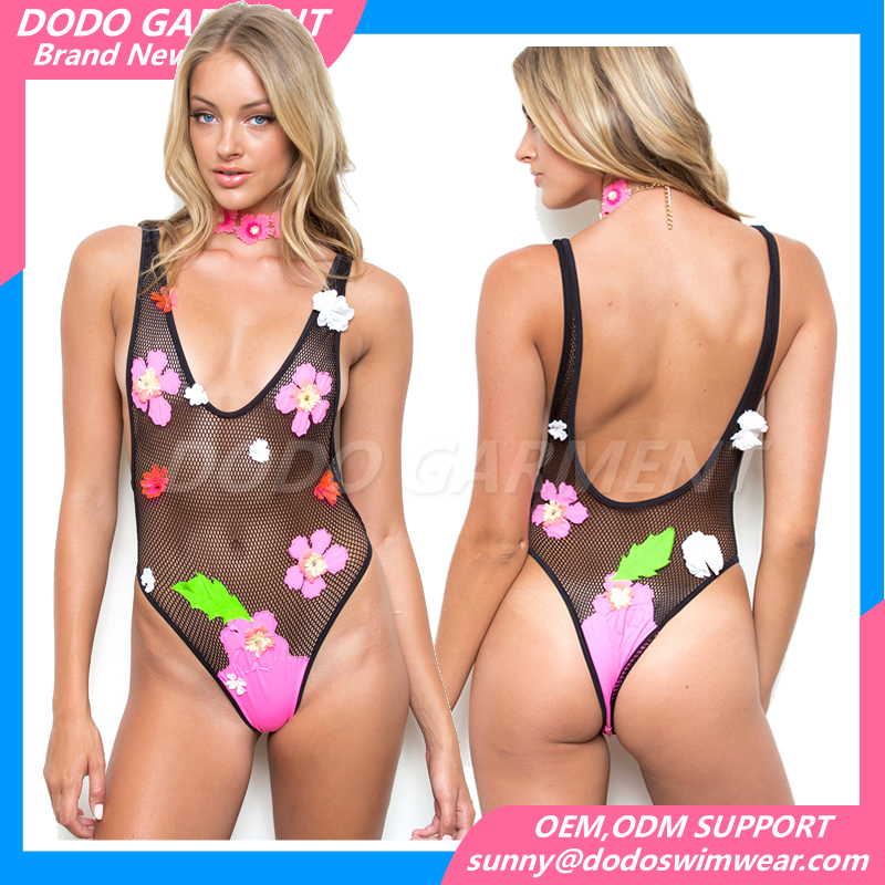 Custom Womens Bikini Sexy Swimwear Mesh Floral One Piece Swimsuit