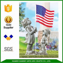 "17.5"" Resin Patriotic Children Statue With American Flag"