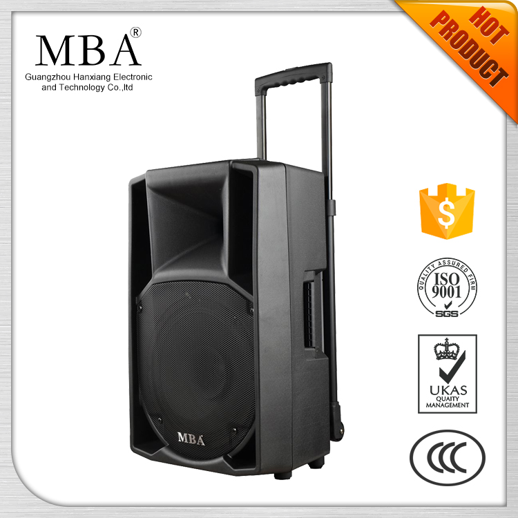 12 Inches bass powerful active mobile trolley speaker with USB/SD/FM/Bluetooth