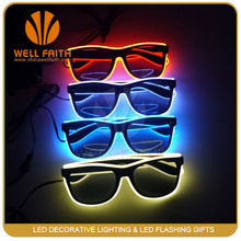 China party supplier plastic EL wire flashing sunglasses,fashionable ray ban sunglasses glow in the dark