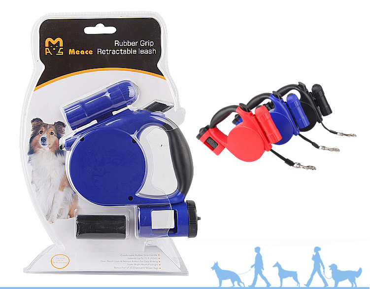 Retractable Dog Leash, Omgar 3 in 1 Multi-function 15ft Length Dog Leash Strap With Dismountable LED Torch And Waste Bag Carrier