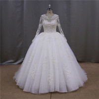Brazilian style bride dress lace wedding dresses high neck