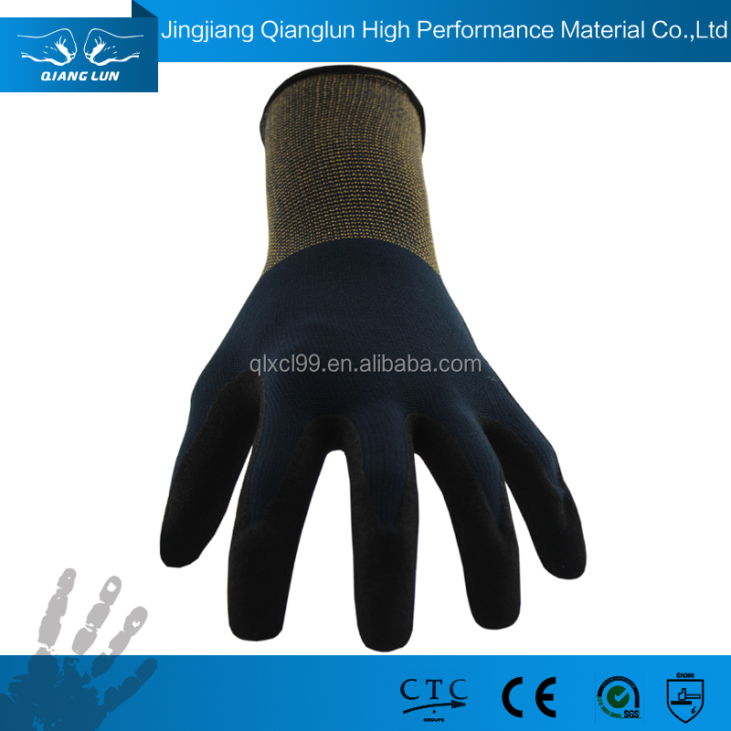 QLSAFETY Sandy nitrile coating protect hands gloves en 388 4131 polyester