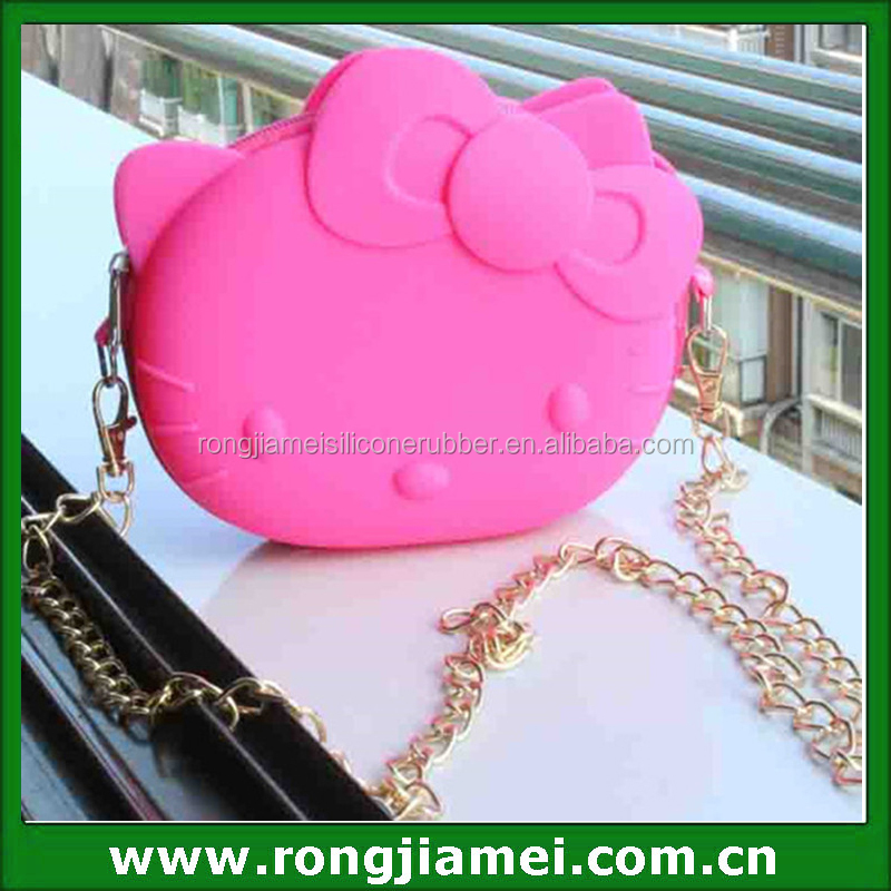 Pink Cute High Grade Bags Hello Kitty Silicone Handle Bag with Metal Chain
