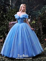 Real Picture 2015 Hot Sale V neck Romantic Blue Ball Gown Wedding Dresses