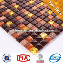 dark brown crystal gold glass and tawny stone glass mosaic wall tile mosaic bathroom accessories