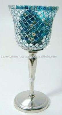 Hurricane Lamp with Mosaic Glass Chimney, Decorative Hurricane Candle Holder