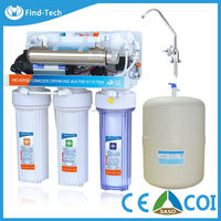 OEM service household 6 stage reverse osmosis ro-75G water machine UV water purifier stainless steel storage tank top