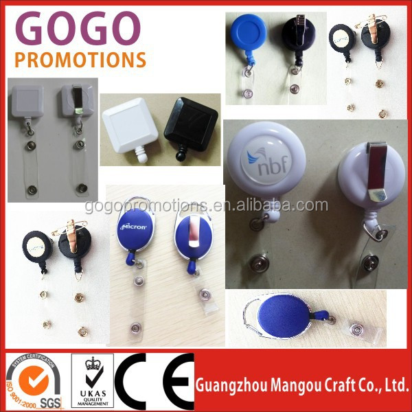 wholesale plastic rotating clips badge reel, ID holder badge reel, Plastic oem retractable badge reel alligator clip