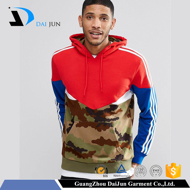 New design longline wholesale blank pullover plain dyed colorant match men's camo hoodies