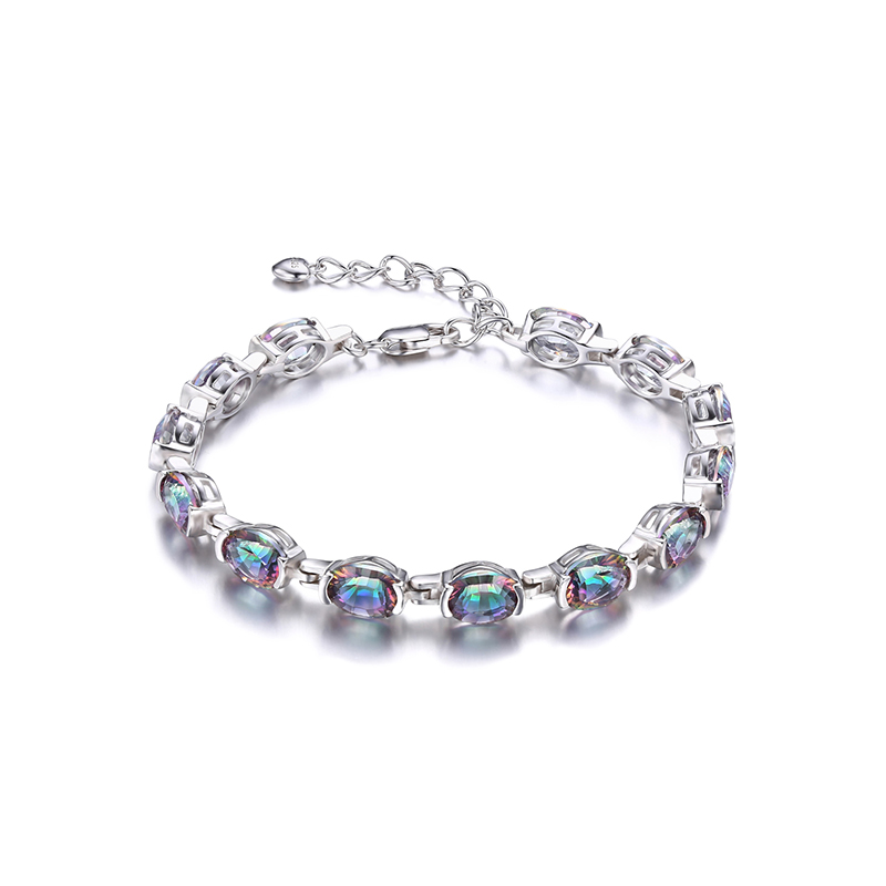 JewelryPalace Natural Mystic Rainbow Topaz Bracelet Link Tennis Women Genuine Solid 925 Sterling Silver Jewelry Top Brand