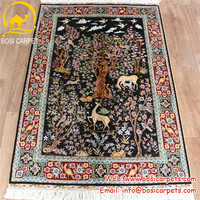 3'x4.5' Handmade silk prayer carpet oriental tree of life design persain carpet