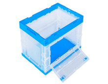 double door logistic industry transparent strong top quality foldable stackable turnover plastic tote box
