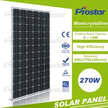 high efficiency 270w mono solar panel with frame and MC4 connector
