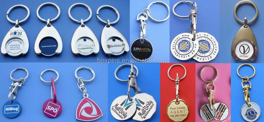 pink ribbon shopping cart coin keychain, breast cancer Canadian trolley coin keychain