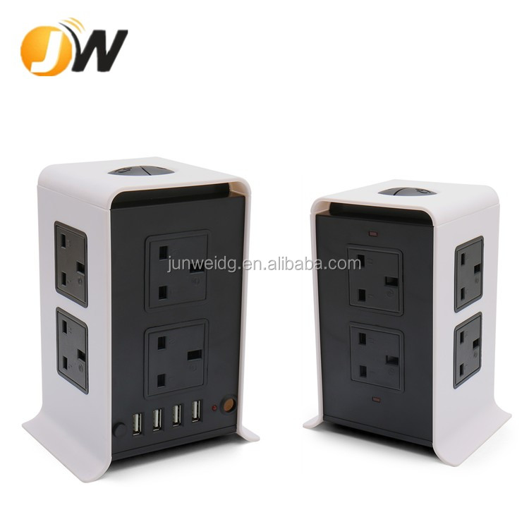 New Vertical Electrical Socket 8 way outlet with 4 USB for UK plug Power Charging