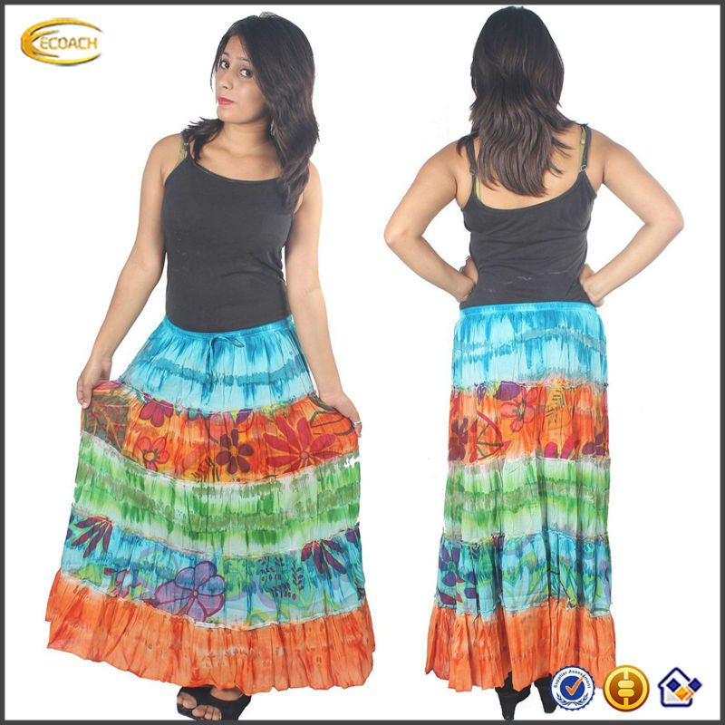 OEM 2015 wholesale Women's Ankle Length TieDye Print Bohemian Gypsy indian ethnic skirt