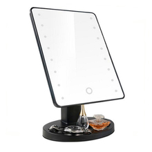 16pcs lights makeup mirror with touch screen led makeup mirror 180 degree rotation adjustable stand table-top led mirror