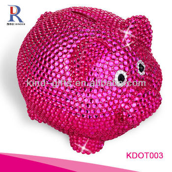 Most Beautiful And Fashion Piggy Bank| Petty Cash Box With Rhinestone|Crystal Bling Decoration