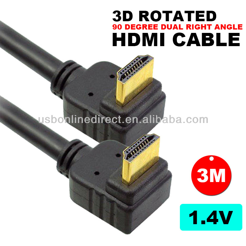 3M 10FT 10FEET 90 Degree HDMI Cable V1.4 V1.3 2.0 with ethernet support 3D & <strong>1080p</strong> FOR HDTV,blue ray, PS3