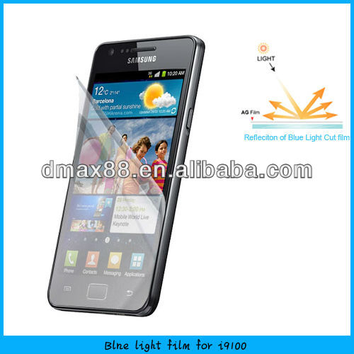 Best price !! blue light cut film screen guard / cell phone accessory for Samsung galaxy s2 i9100 (BC)
